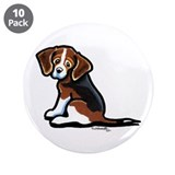 "Cute Tri-color Beagle 3.5"" Button (10 pack)"