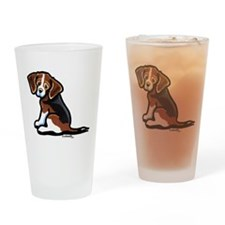 Cute Tri-color Beagle Drinking Glass