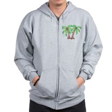 Unique Palm tree Zip Hoodie