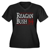 Reagan Bush 84 retro Women's Plus Size V-Neck Dark