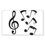 G-clef with Musical NOTES IV Sticker (Rectangle 50