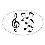 G-clef with Musical NOTES IV Sticker (Oval 50 pk)