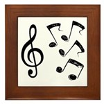 G-clef with Musical NOTES IV Framed Tile