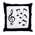 G-clef with Musical NOTES IV Throw Pillow