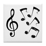 G-clef with Musical NOTES IV Tile Coaster
