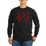 G-clef with Musical NOTES IV Long Sleeve Dark T-Sh