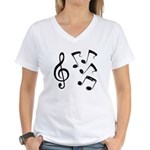 G-clef with Musical NOTES IV Women's V-Neck T-Shir