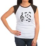 G-clef with Musical NOTES IV Women's Cap Sleeve T-