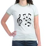 G-clef with Musical NOTES IV Jr. Ringer T-Shirt