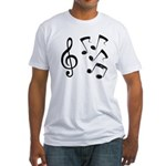 G-clef with Musical NOTES IV Fitted T-Shirt