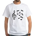 G-clef with Musical NOTES IV White T-Shirt