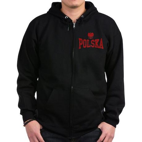 Polska White Eagle Zip Hoodie (dark)