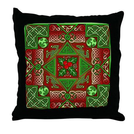 Celtic Labyrinth Holly Throw Pillow