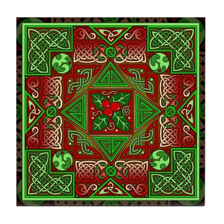 Celtic Labyrinth Holly Tile Coaster