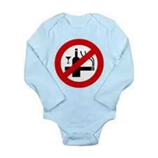 Funny NO Smoking Alcohol Sign Long Sleeve Infant B