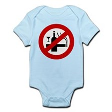Funny NO Smoking Alcohol Sign Infant Bodysuit