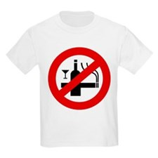 Funny NO Smoking Alcohol Sign T-Shirt