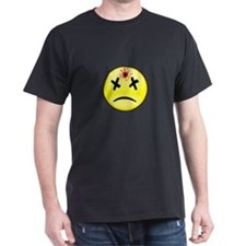 Bullet Hole Smiley Black T-Shirt
