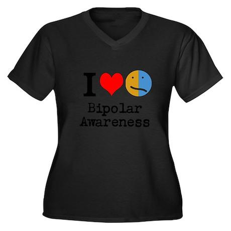 I <3 Bipolar Women's Plus Size V-Neck Dark T-Shirt