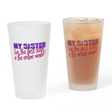 Best Sister in the World Drinking Glass