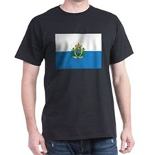 San Marino Flag Black T-Shirt