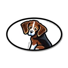 Cute Tri-color Beagle 38.5 x 24.5 Oval Wall Peel