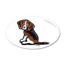 Cute Tri-color Beagle 22x14 Oval Wall Peel