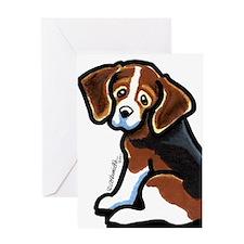 Cute Tri-color Beagle Greeting Card
