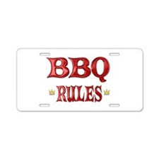 BBQ Rules Aluminum License Plate