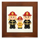 Cool Whimsical firemen Framed Tile