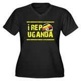 I rep Uganda Women's Plus Size V-Neck Dark T-Shirt