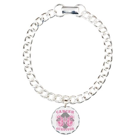 Breast Cancer Survivorship Charm Bracelet, One Cha