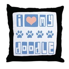 I Love My Doodle Throw Pillow