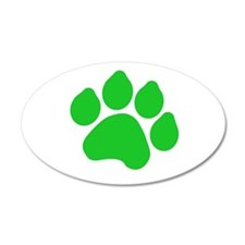 Green Paw Print 22x14 Oval Wall Peel