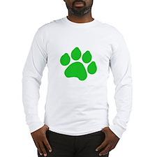 Green Paw Print Long Sleeve T-Shirt