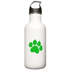 Green Paw Print Water Bottle