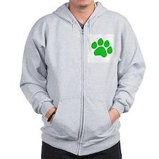 Green Paw Print Zip Hoodie