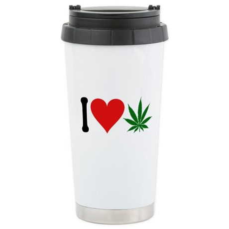 I Love Pot (symbol) Ceramic Travel Mug