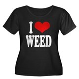 I Love Weed Women's Plus Size Scoop Neck Dark T-Sh