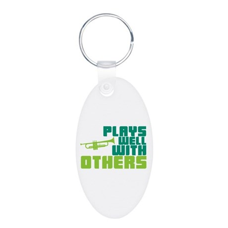 Plays Well with Others Aluminum Oval Keychain