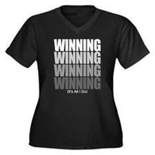 WINNING Women's Plus Size V-Neck Dark T-Shirt