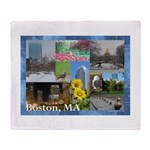 Boston, MA Photo Collage Throw Blanket