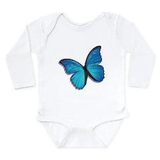 Blue Morpho Butterfly Long Sleeve Infant Bodysuit