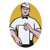 waiter holding menu Ornament (Oval)