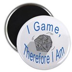 """d20 I Game therfore I am 2.25"""" Magnet (100 pack)"""