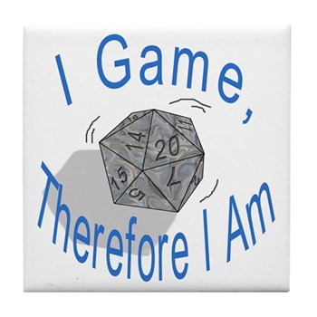 d20 I Game therfore I am Tile Coaster