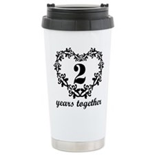 2nd Anniversary Heart Ceramic Travel Mug