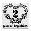 2nd Anniversary Heart Tile Coaster
