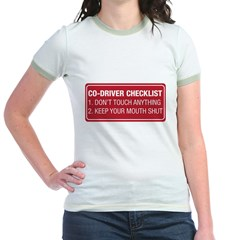 Co-Driver Checklist Jr. Ringer T-Shirt