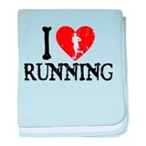 I Heart Running baby blanket